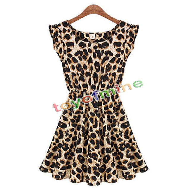 Sexy Women Leopard Print bodycon grain Dress Clubwear Nightclub Party Casual AU