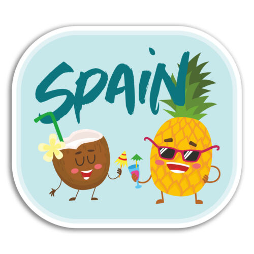 Funny Travel Cool Sticker Laptop Luggage #18644 2 x 10cm Spain Vinyl Stickers