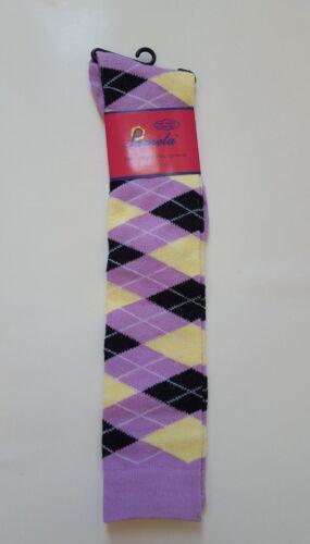 Womens Girl Ladies Knee High Socks Multi Pattern Argyle Size 9-11 Shoe Size 4-10