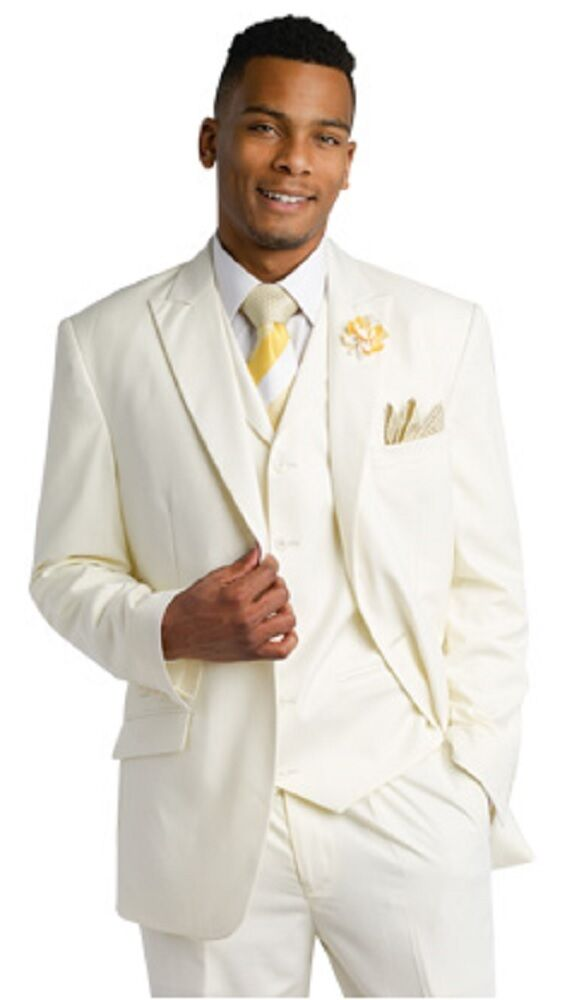 Mens cream ivory fashion suit 3 piece wedding dinner ej for Mens ivory dress shirt wedding
