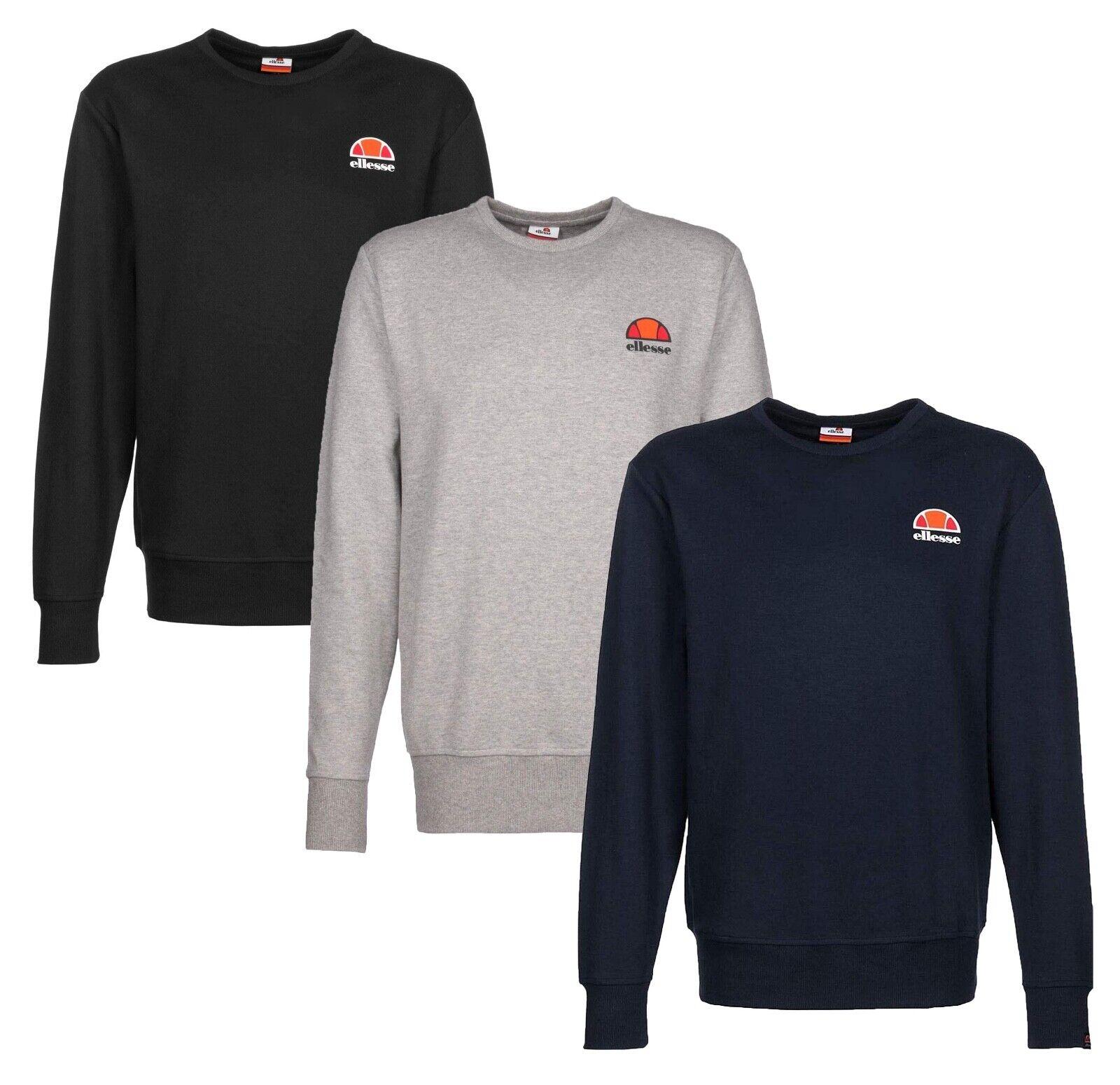 ellesse Mens Perth Crew Neck Retro Logo Sweatshirt Black Blue Grey Sweat Top