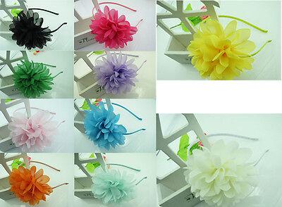 Fashion Girls Big Chiffon Sweet Flower Headband Hairband Hair Clasp Band Hoop