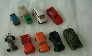 9x Vintage miniature toy cars  Benbros tank  Pick-up truck Ferrari LGTI with som