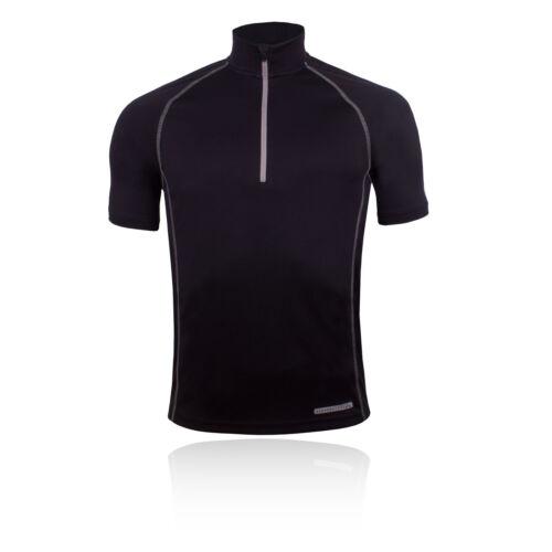 Higher State Mens Black Half Zip Short Sleeve Running Sports T Shirt Tee Top