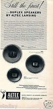 1956 Print Ad of Altec Lansing Corp Duplex Speakers Loudspeakers