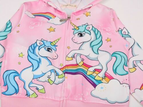 New Girls Rainbow Unicorn Pocket Zip-Up Hoodie Jacket Sweatshirt ZG