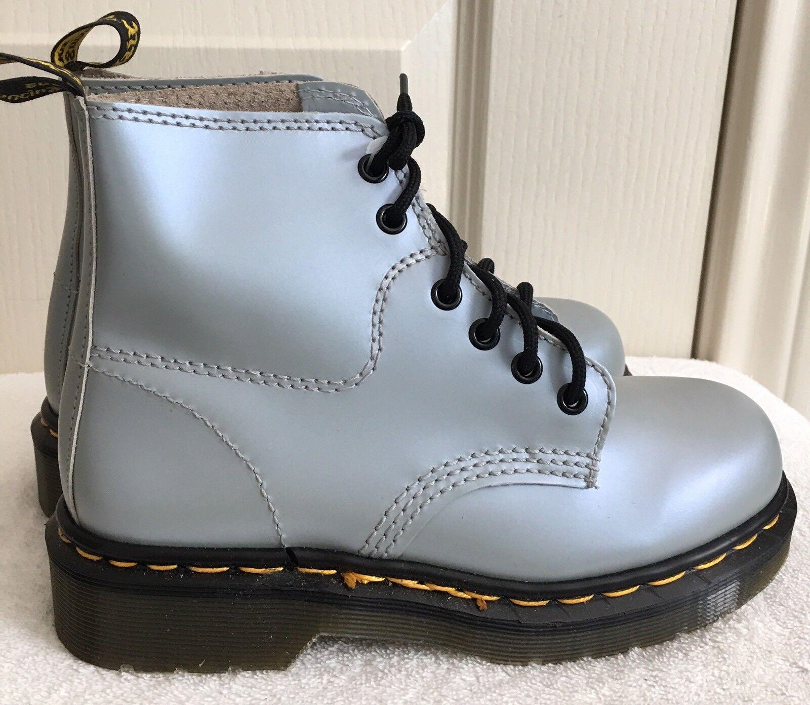 Womens DR. MARTENS 8175 6-Eye Metallic bluee-Silver Ankle Boots SIZE US 5 EU 36