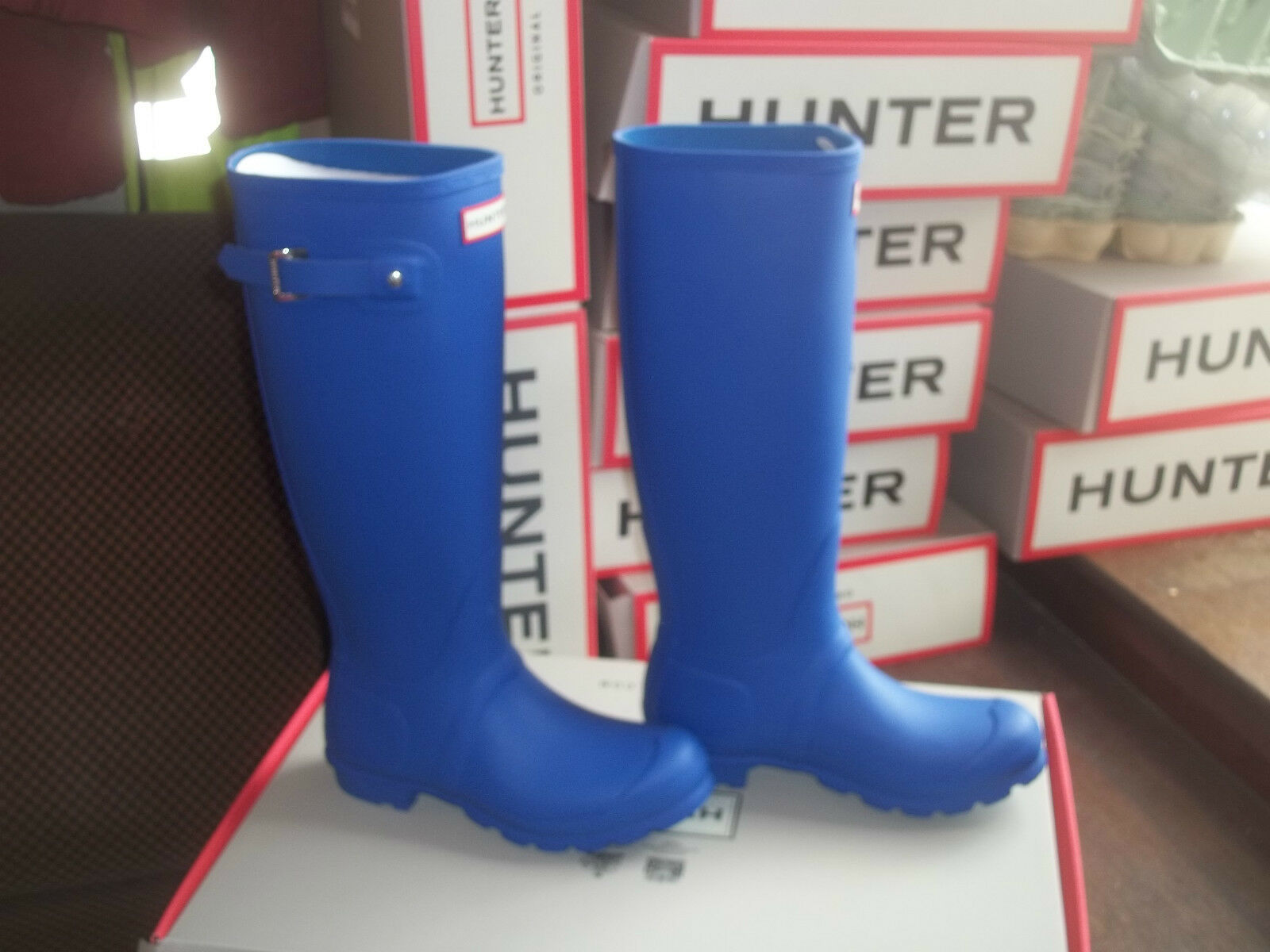 Hunter Wellingtons brillante en Halifax brillante Wellingtons Cobalto Para Mujer Original Tall Tamaño 4 0b1c92