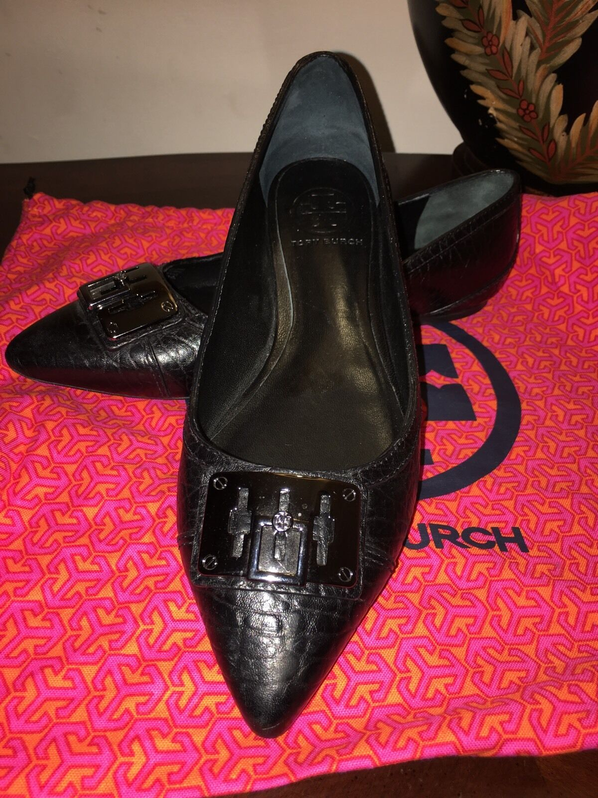 Tory Burch SHOES SHOES Burch FLATS BLACK LEATHER 7.5M 7f5a85