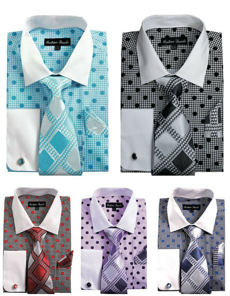 5pc Men's Polka Dot Dress Shirt w  French Cuff Links,Tie & Hanky  Free Shipping