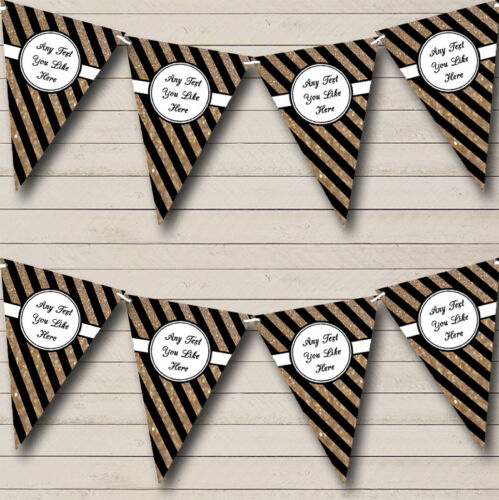 Party Banner Bunting Black And Copper Gold Stripes Personalised Engagement
