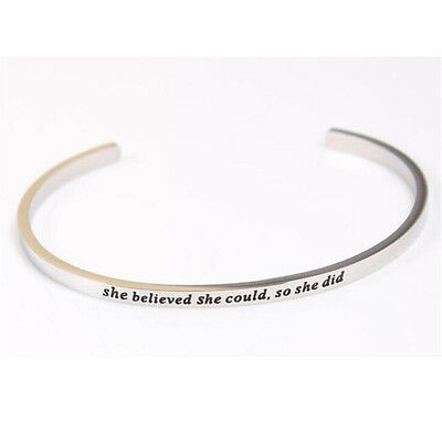 Mix Stainless Steel Engraved Positive Inspirational Cuff Mantra Bracelet Bangle