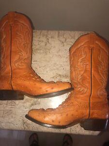 64dcd593a7e Details about Rudel Rogers Caiman Croc Ostrich Cowboy Western Boots 8E  Saddle Color