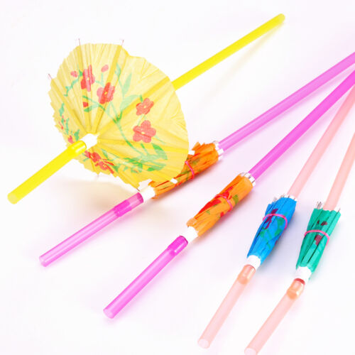 20 Cocktail 3D Umbrella Drinking Hawaiian Tropical Straw Birthday Party Hen//Stag