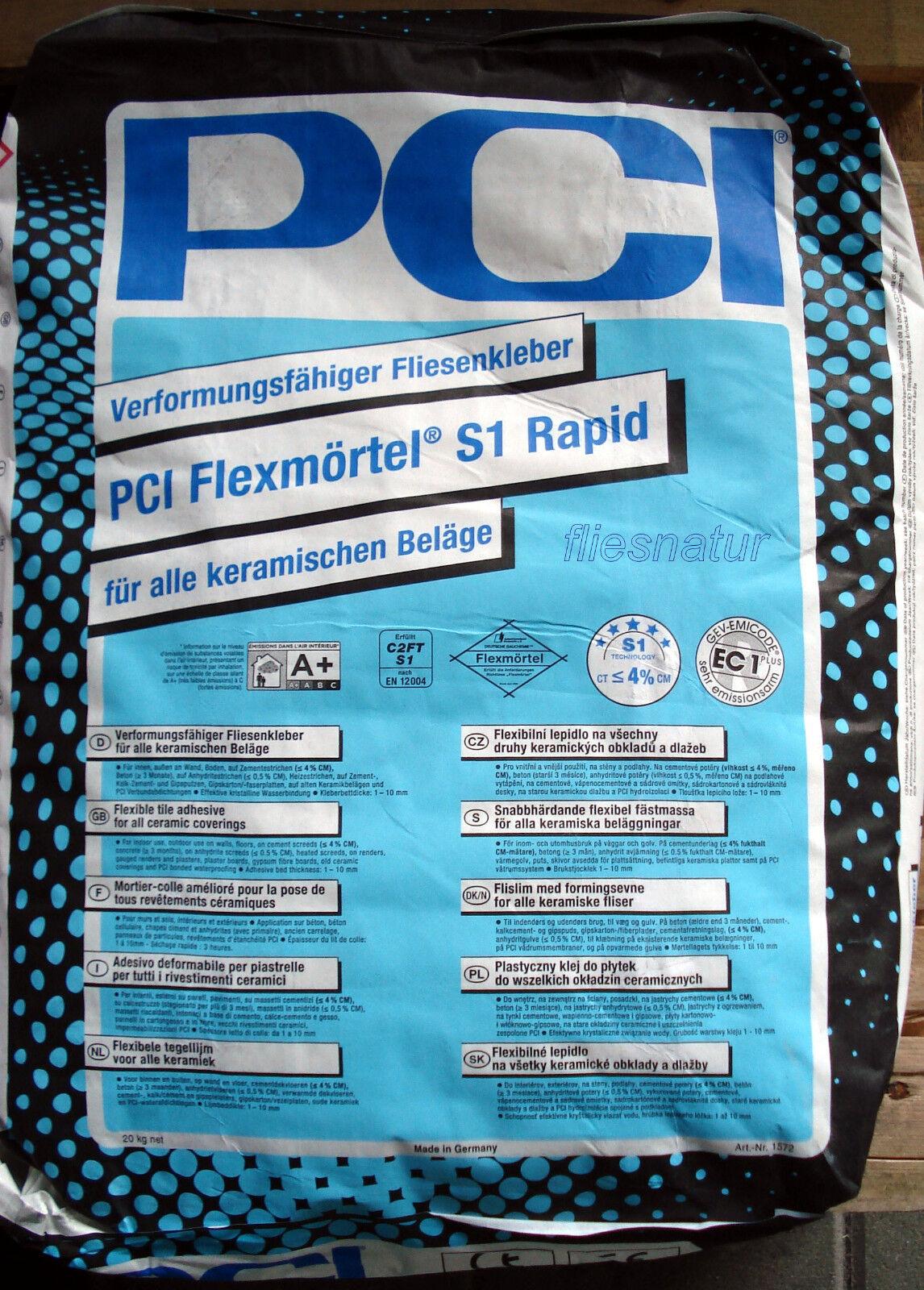 PCI S1 Rapid Flexmörtel 20kg Schnellkleber Flexkleber Fliesenkleber Kleber FBH
