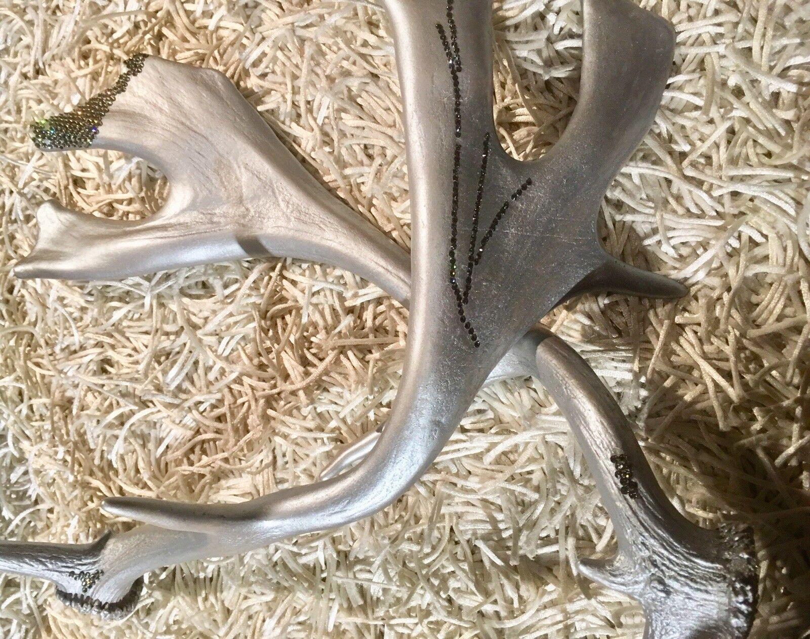 Geweih Strass Weihnachten Deko Silber Damhirsch | | | Verschiedene Arten und Stile  2f9bad