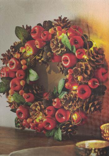 Zapfen LED Dekokranz Türkranz Herbst kranz  geschmückt mit Äpfelchen