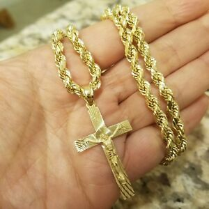 c3fadde20e8f8 Details about 14k yellow gold rope chain 28 inches long 5 mm and Jesus  crucifix pendant 1.75