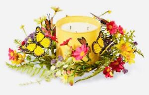 Bath-amp-Body-Works-3-wick-candle-holder-ring-Batterfly-spring-summer