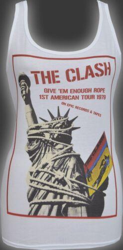 WOMENS PUNKTANK TOP THE CLASH USA GIVE EM ENOUGH ROPE TOUR PUNK ROCK 1977 S-2XL