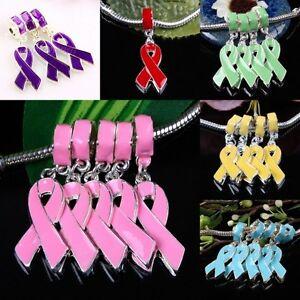 Enamel-Ribbon-Cancer-Disease-AWARENESS-Dangle-Charm-Beads-Findings-Fit-Bracelet