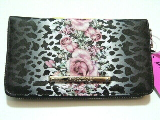 NWT * Stunning Betsey Johnson floral leopard wallet