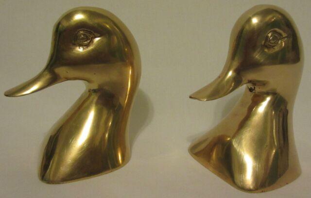 Vintage Pair Set 2 Brass Mallard Duck Geese Book ends Figures Office Decor Heads