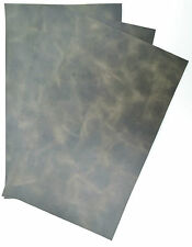 SLATE GREEN SWIRL PULL-UP LEATHER COWHIDE PIECES, 3 @ 25 CM X 15 CM, 1.4MM THICK