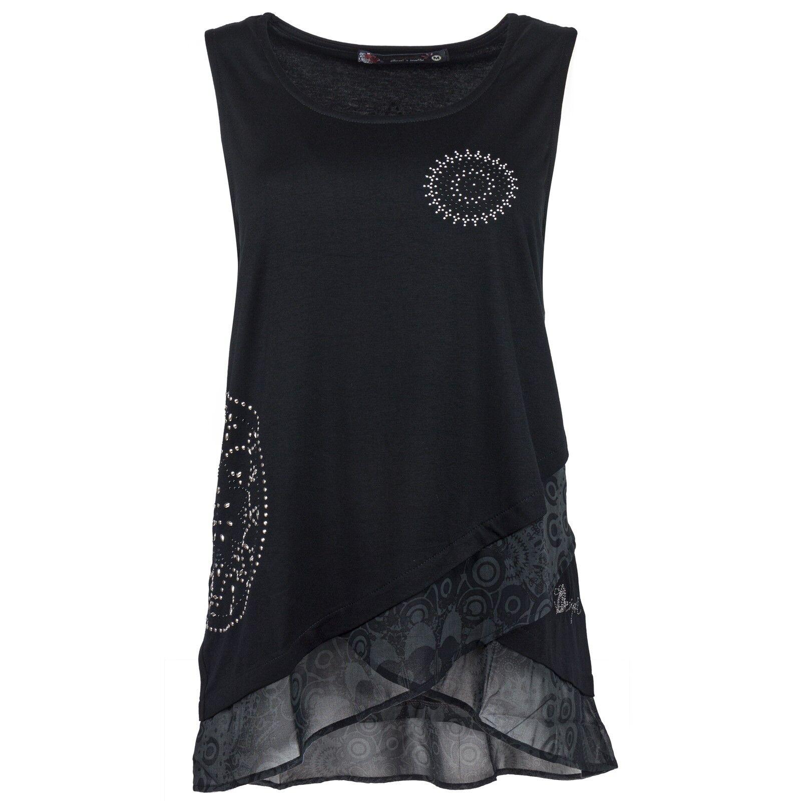 Desigual Damen Shirt Top Damenshirt Nieten Besatz Transparenter Lagen Look