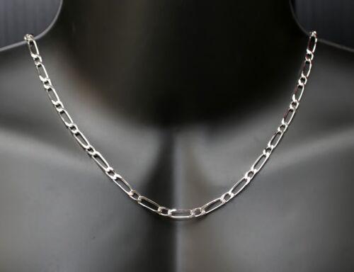 chaine maille figaro 1+1 en argent massif véritable 925 pour homme large 4mm