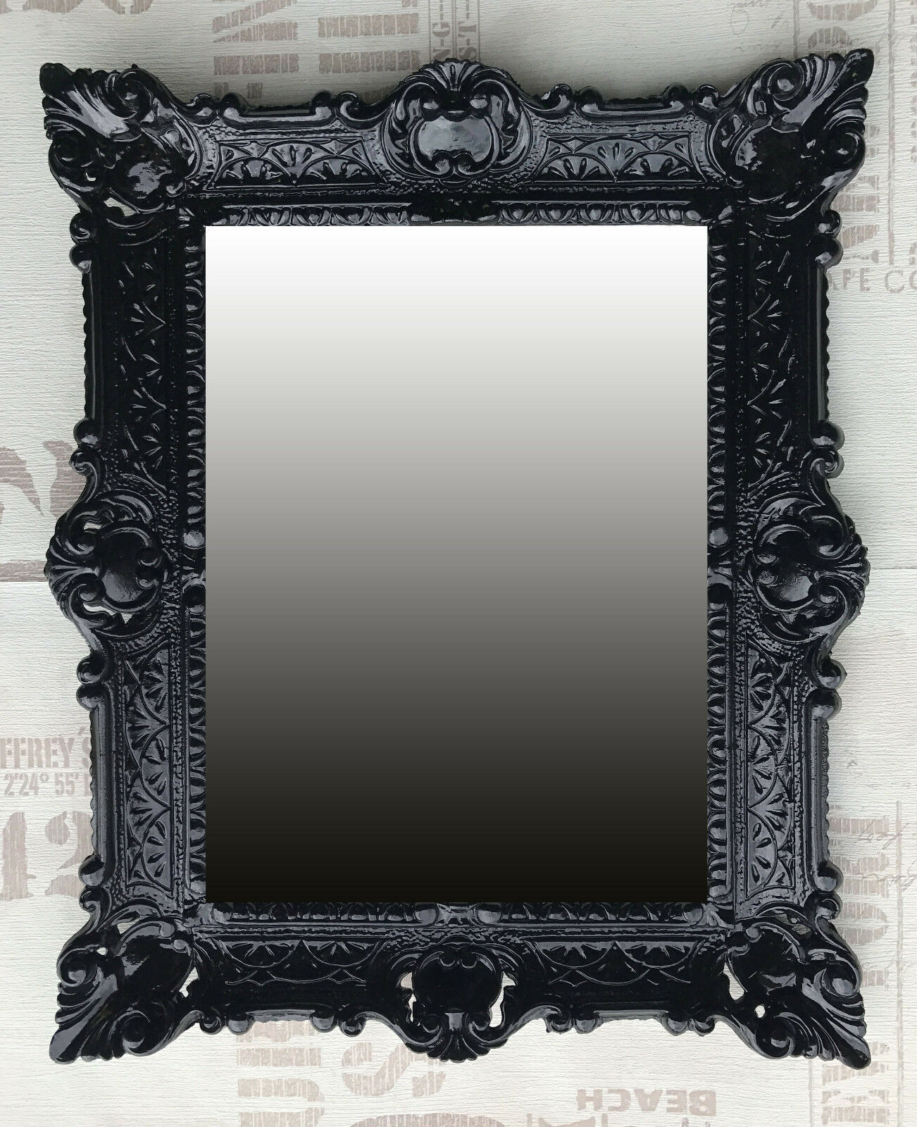 Miroir mural noir ancien baroque repro badspiegel - Miroir baroque noir rectangulaire ...