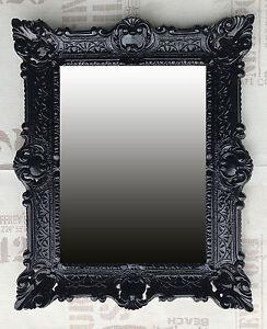 wandspiegel schwarz antik barock badspiegel flurspiegel frisierspiegel 56x46 cm ebay. Black Bedroom Furniture Sets. Home Design Ideas