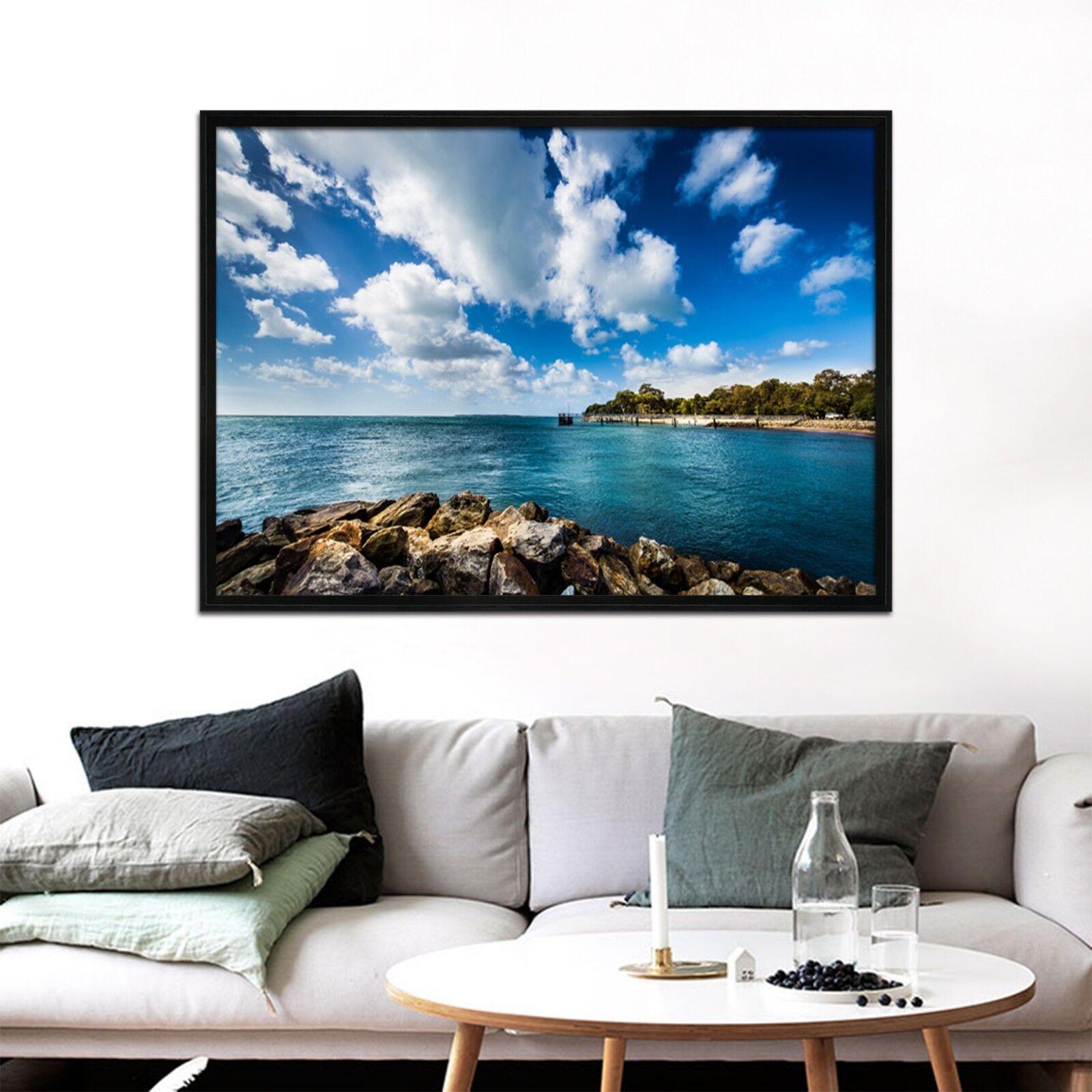 3D mar nubes blancoas 67 Póster Enmarcado Decoración del Hogar Pintura de Impresión Arte AJ Wallpaper