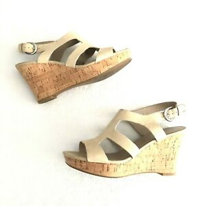 28ad6b8b4776  90 Franco Sarto Beige Colletta Cork Wedge Heel Sandal Leather VGUC ...
