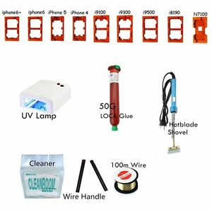 Cell Phone SCREEN Separator Kits UV Lamp Shovel Wire Handle Cleaner+Moulds