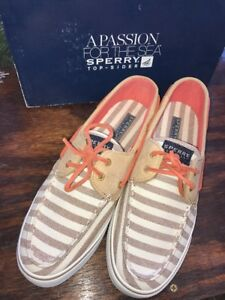 NEW-SPERRY-TOP-SIDER-BAHAMA-SAND-BRETON-CORAL-BOAT-SHOES-WOMENS-10