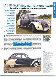 2-CV-Dolly-Bleu-Nuit-Jaune-Rialto-Jantes-Blanches-1986-Car-Auto-FICHE-FRANCE
