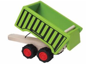 aus Holz Kipp-Anhänger Kipper grün für Traktor njoykids 14100