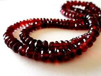 Natural Garnet Aaa Mozambique Red Beads Necklace With Silver Clasp Over