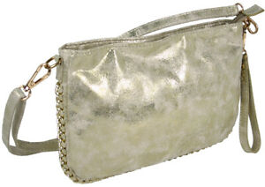 0d9773eb3e4 Details about Small Clutch Purse Crossover Shoulder Bag - 3 Tragvarianten -  Gold-Beige