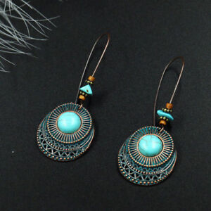 Fashion-Jewelry-Eardrop-Long-Hook-Women-Earrings-Dangle-Turquoise-Vintage-Round