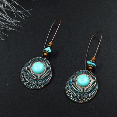 Women Vintage Turquoise Bead Leaf Long Drop Dangle Hook Earrings Jewelry Fashion
