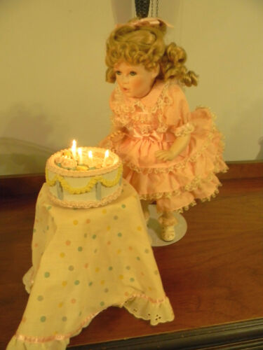Happy Birthday Amy Porcelain Doll With Cake, Stand & Tablecloth by Gorham