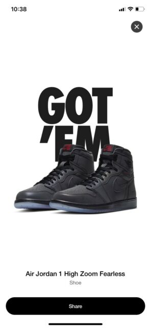 Nike Air Jordan 1 High Zoom Fearless Sneakers Size 9.5