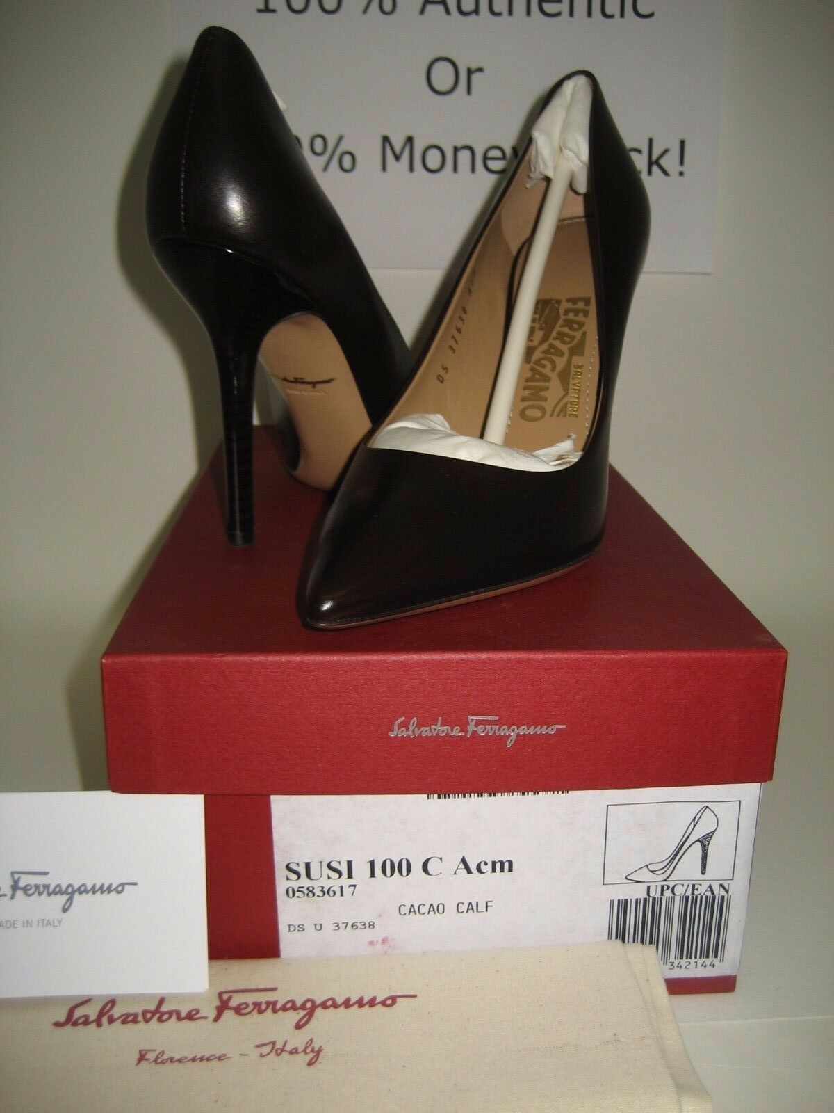 575 NEW Salvatore Ferragamo Susi Brown Leather Point Toe Pumps High Heels shoes