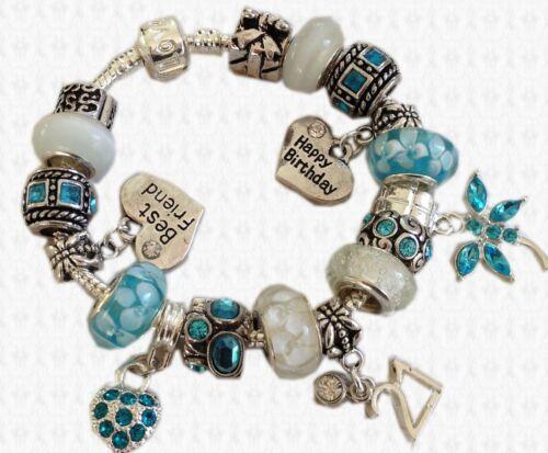AQUA Personalised HAPPY BIRTHDAY /& AGE Charm Bracelet GIFT BOX Girls /& Ladies