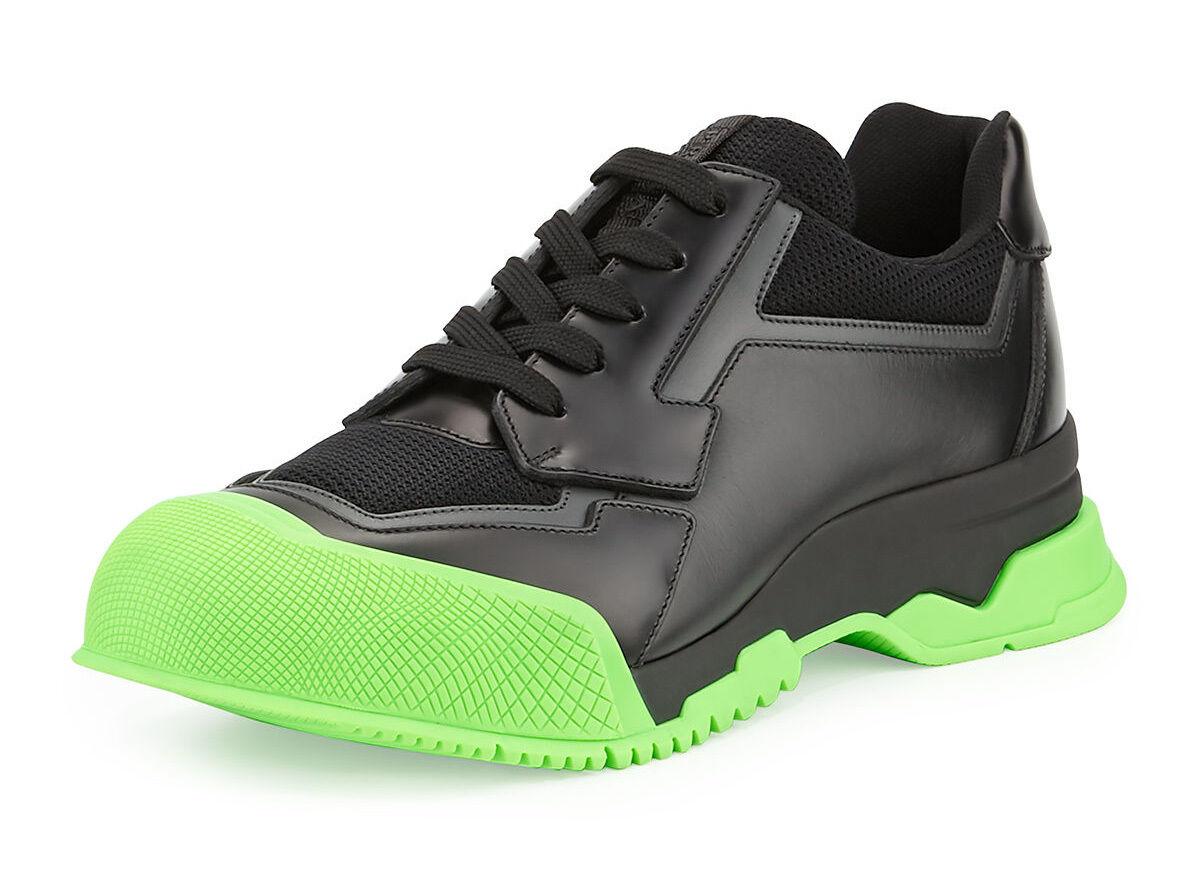 100% authentic Prada Pelle Trainer  with Contrast Sole sz 9.5 / 10.5