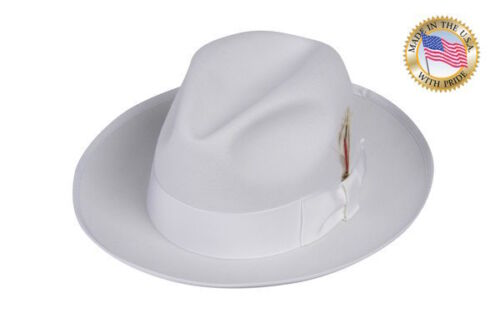 Shannon Phillips WHITE GANGSTER Fedora Wool Hat WHITE BAND Snap Brim NEW
