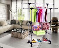 3 Tier Portable Double Rolling Rail Adjustable Clothes Garment Rack Hanger Us Ob