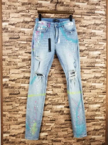 Falection 19ss ARMIRlMK Distressed Ripped JEANS WITH GRAFFITI PAINT PANTS
